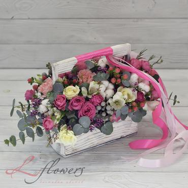 Цветы в ящиках - Wood box Ламборгини - букеты в СПб