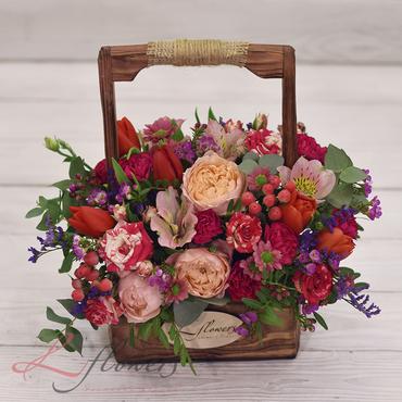 Цветы в ящиках - Деревянный ящик Неаполь - букеты в СПб