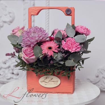 Цветы в ящиках - Woodbox Фуксия - букеты в СПб