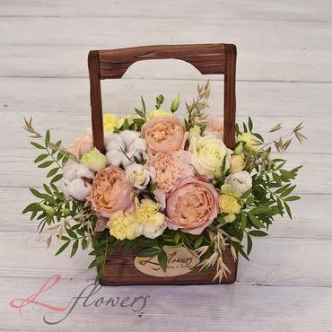 Цветы в ящиках - Wood box Пикси - букеты в СПб