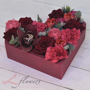Цветы в ящиках - Wood box Свидание - букеты в СПб